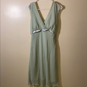 WRAPPER Light Green Polka Dot Wrap Front Dress